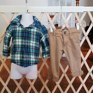 12 months plaid button-up and khakis outfit